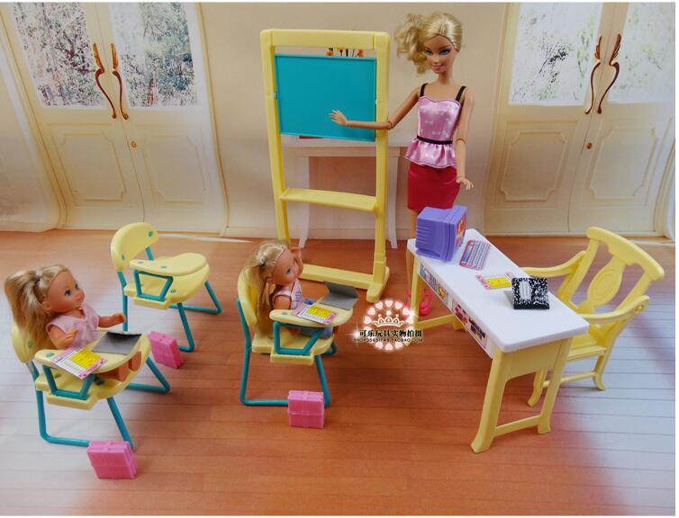 Original For Princess Barbie Teacher Classroom School Desk Supplies 1/6 Bjd Doll Furniture Doll House Accessories Set Toy Gift