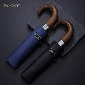 Image 2 - PALONY yeni varış otomatik erkekler şemsiye üç kat ahşap saplı siyah kaplama güneş katlanır şemsiyeler 10K rüzgar geçirmez