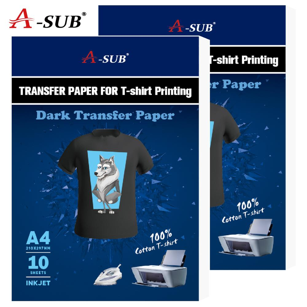T-shirt Dark Transfer Paper A3/A4 Iron On Heat Press Printer For Cotton Fabrics Cloth Inkjet Printing Design