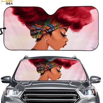 Art Black Girl Print Car Sunshade Auto Window/Windshield Visor UV/Sun Blocker Afro African Lady Universal Fit Auto Accessories фото