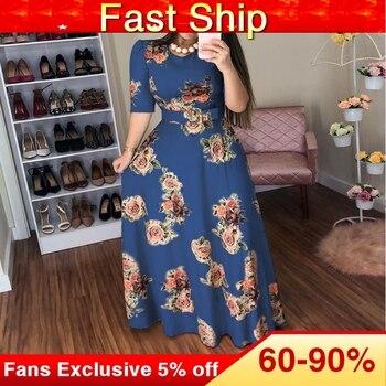 Women Summer Dress 2019 Casual half Sleeve Long Dress Boho Floral Print Maxi Dress Elegant Dresses цена 2017