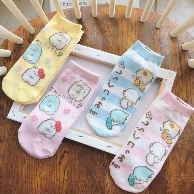 1 Pair Lovely Japanese Sumikko Gurashi Corner Creature Cotton Short  Socks Student Girls Cartoon Socks Cosplay Plush Toys Gift