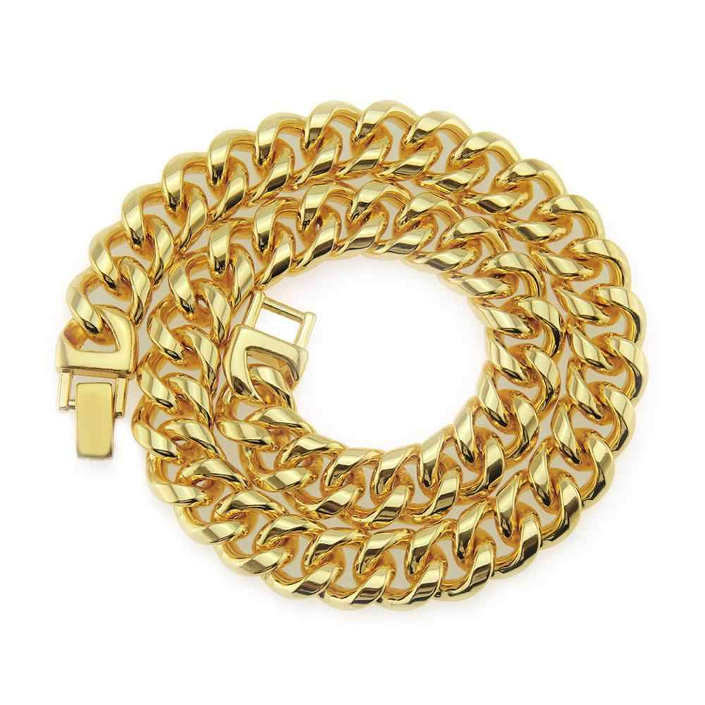 """15MM oświadczenie Miami kubański Link Chain naszyjnik złoty stop cynkowy Hip Hop biżuteria Iced out bransoletka 16 """"18"""" 20 """"22"""" 24 """"28"""" 30 cali"""