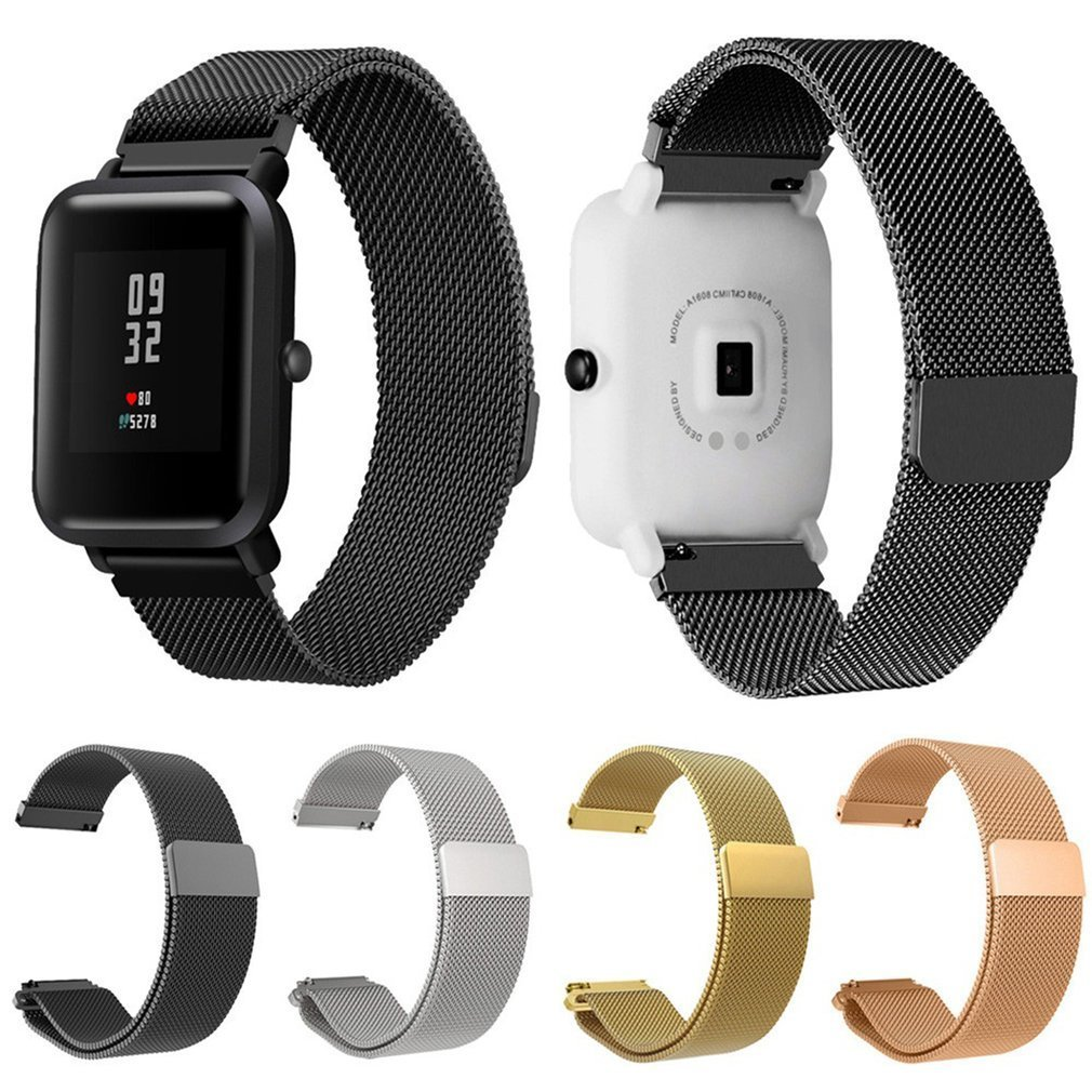 20mm Mesh Milanese Loop Watchbands Silver Gold Black Bracelet Wrist Watch Band Strap Magnetic For Xiaomi Amazfit Bip Youth Watch