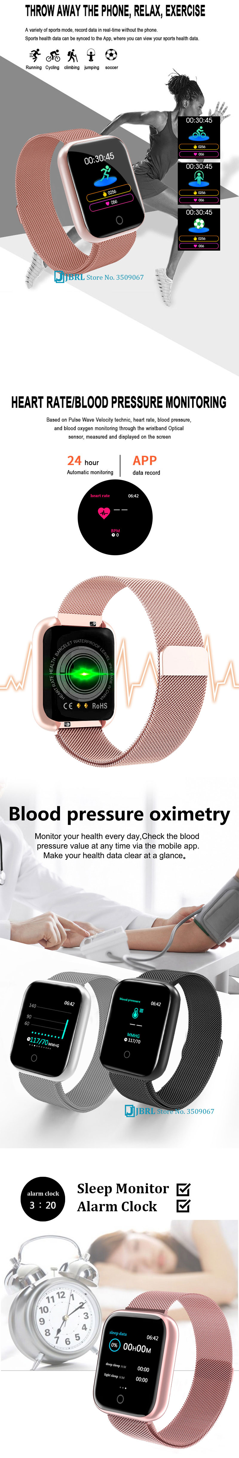Stainless Steel Smart Watch Women Men Smartwatch For Android IOS Electronics Smart Clock Fitness Tracker Square Dial Smart-watch