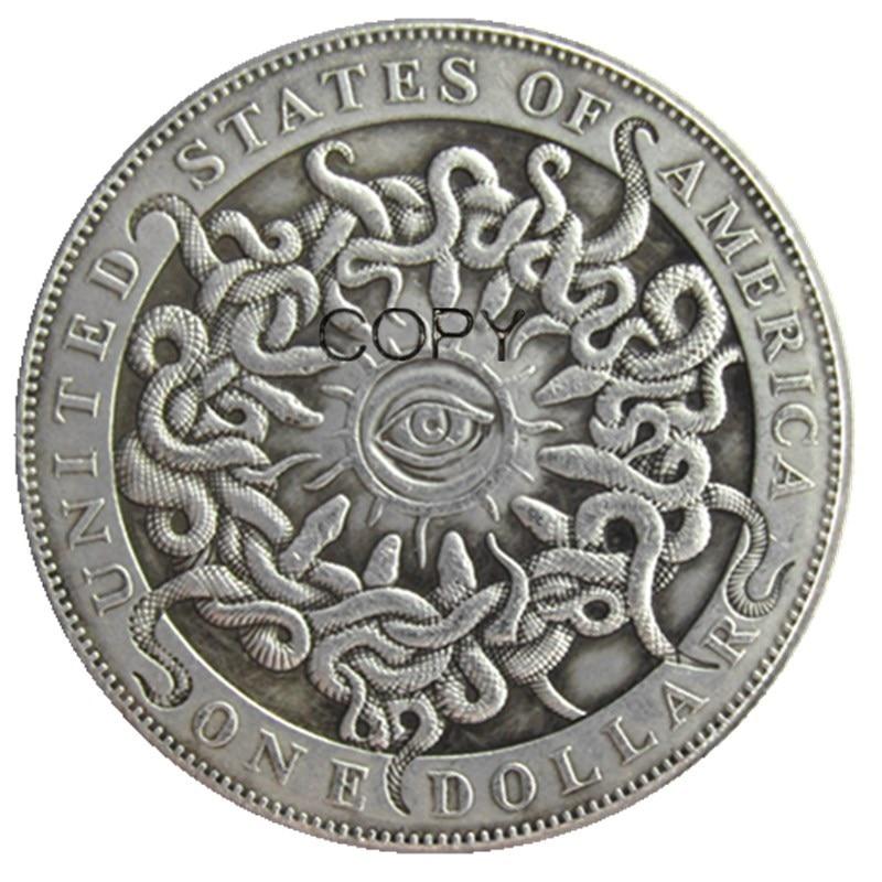 HB(108) Хобо сша Морган доллар1893 Череп Зомби Скелет посеребренные копии монет