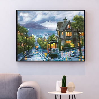 HUACAN Cross Stitch Street Scenery Needlework Sets Embroidery City Landscape Kits White Canvas DIY Home Decor 14CT 40x50cm - discount item  40% OFF Arts,Crafts & Sewing