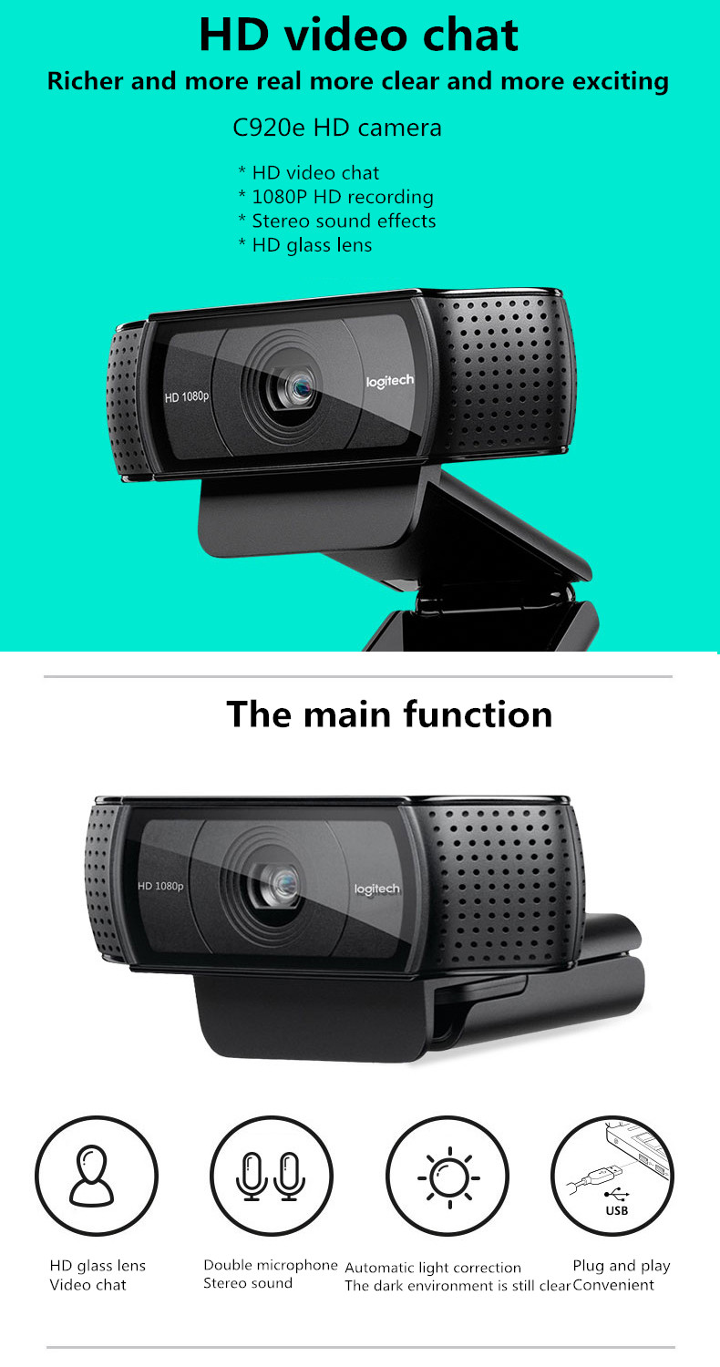 Logitech Hd Pro Webcam C920e Widescreen Video Calling And Recording 1080p Camera Desktop Or Laptop Webcam C920 Upgrade Webcams Aliexpress