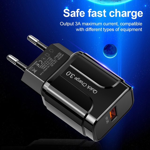 3A Quick Charge 3.0 USB Charger EU Wall Mobile Phone Charger Adapter for iPhone X MAX 7 8 QC3.0 Fast Charging for Samsung Xiaomi | HOTSHOPDIRECT