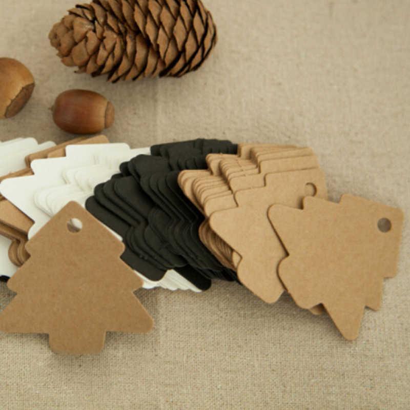 50 ชิ้น/เซ็ต DIY Kraft Christmas Tree Shape BLANK Hang Tag Christmas PARTY ตกแต่งกระดาษการ์ดของขวัญป้ายป้ายขาย