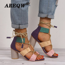 Wedge Women Sandals Ladies Square Heel Pointed Fish Mouth Hemp Rope Lace-up Sandals Ankle Strap High Heels Shoes(China)