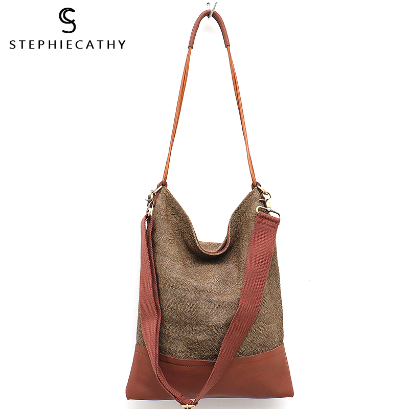 SC Retro Design Linen Women Shoulder Bag Vintage Leather Patchwork Soft Big Female Hobo Handbag Wide Long Belt Casual Crossbody