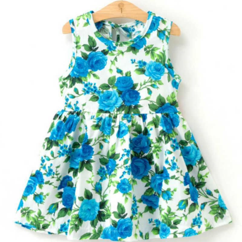 Sukienka dla dziewczynki dla dzieci śliczna 2020 bawełna bez rękawów kwiat wydruku bawełniana i lniana sukienka kwiatowa dla dziewczynki wiosna letnie sukienki dla dziewczynek