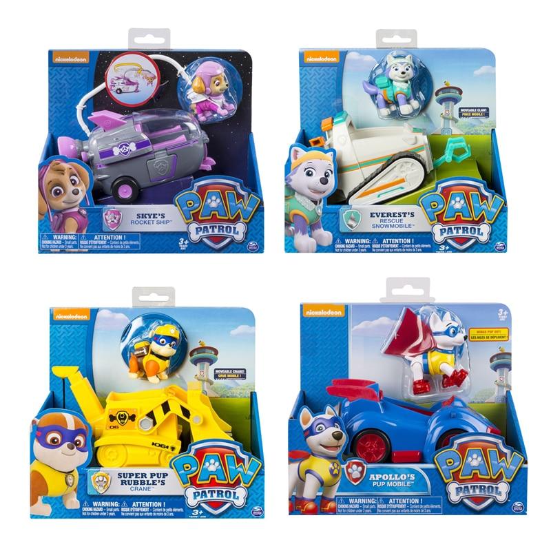 Original Paw Patrol Everest Tracker Apollo Skye Spin Master Rescue Vehicle Toy Set Anime Action Figure Toy Kid Gift