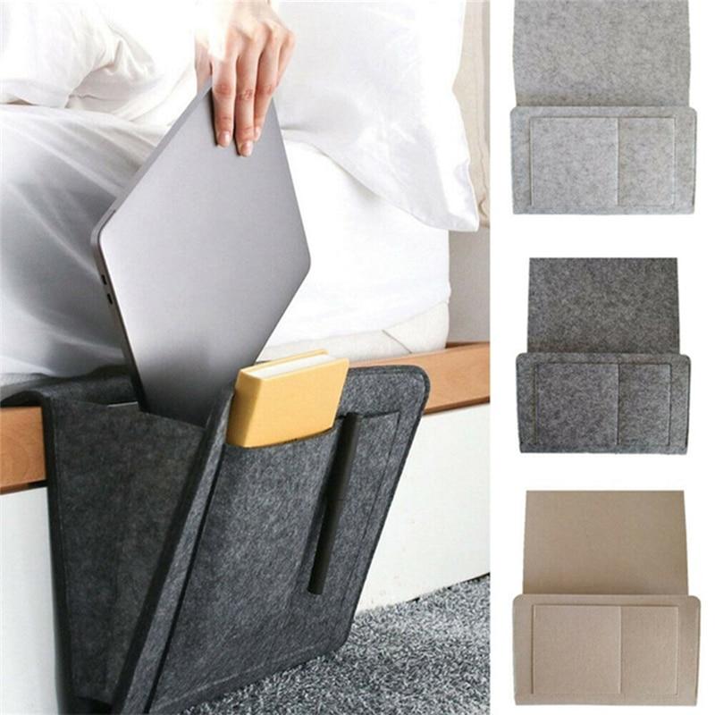 Sofa Bunk Beds Gray Magazine Phone Remote Holder for Home Bed Rails Lisiting Bedside Storage Pocket Felt Hanging Organizer Bag