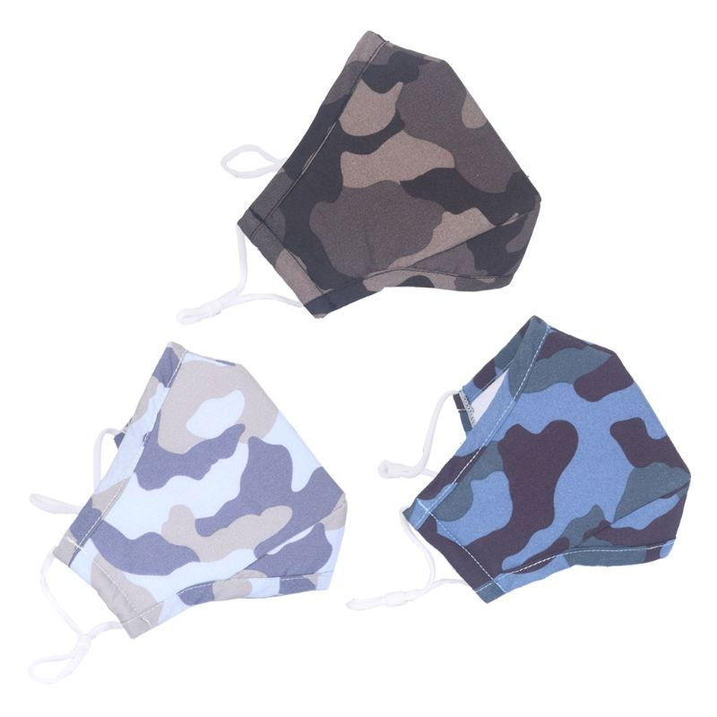 3Pcs Reusable PM2.5 Filter Outdoor Masks Washable Dustmask Camouflage Outdoor Sports Masks Kit Unisex For Children Adult