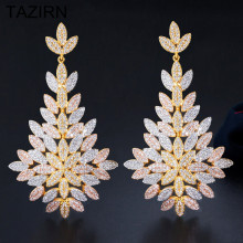 Luxury AAA+ Cubic Zirconia Leaves Shape Drop Earrings for Women Bohemian Big Earrings Fashion Banquet Wedding Female Jewelry fashion fashion colorful rhinestones pendant korea bohemian earrings for women aaa cubic zirconia earrings luxury party jewelry