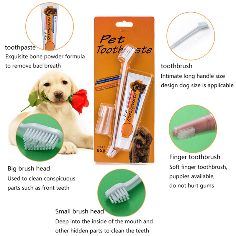 Dog Toothpaste And Toothbrush Set Double Sided With Long Handle Finger Toothbrush And Toothpaste For Cats And Dogs image