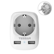 TESSAN 미니 사이즈 드 플러그 여행용 어댑터 소켓 2 USB 충전 포트 벽면 콘센트 전원 스트립 IPhone,IPad,Iaptop