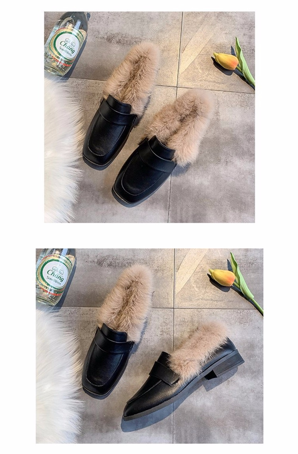 Autumn winter casual women shoes fluffy warm fluffy lining fashion black brown square toe women's shoes 32