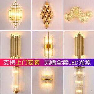 Image 2 - Moderna lampada da parete di cristallo oro sconce luci AC110V 220V moda di lusso lustro soggiorno camera da letto apparecchi di luce