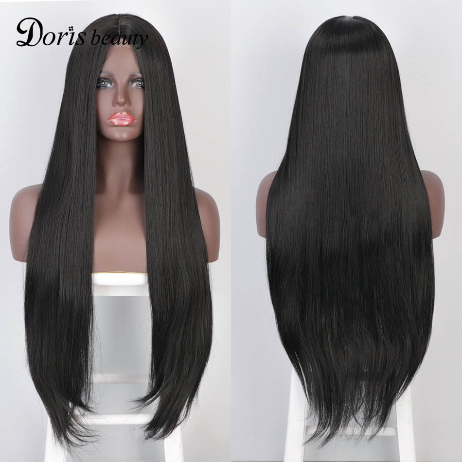 Doris Beauty Wigs Long Straight Middle Part Lace Wig Black/Blond/Red/Brown Synthetic Wigs for Women Fiber Natural Looking Wig