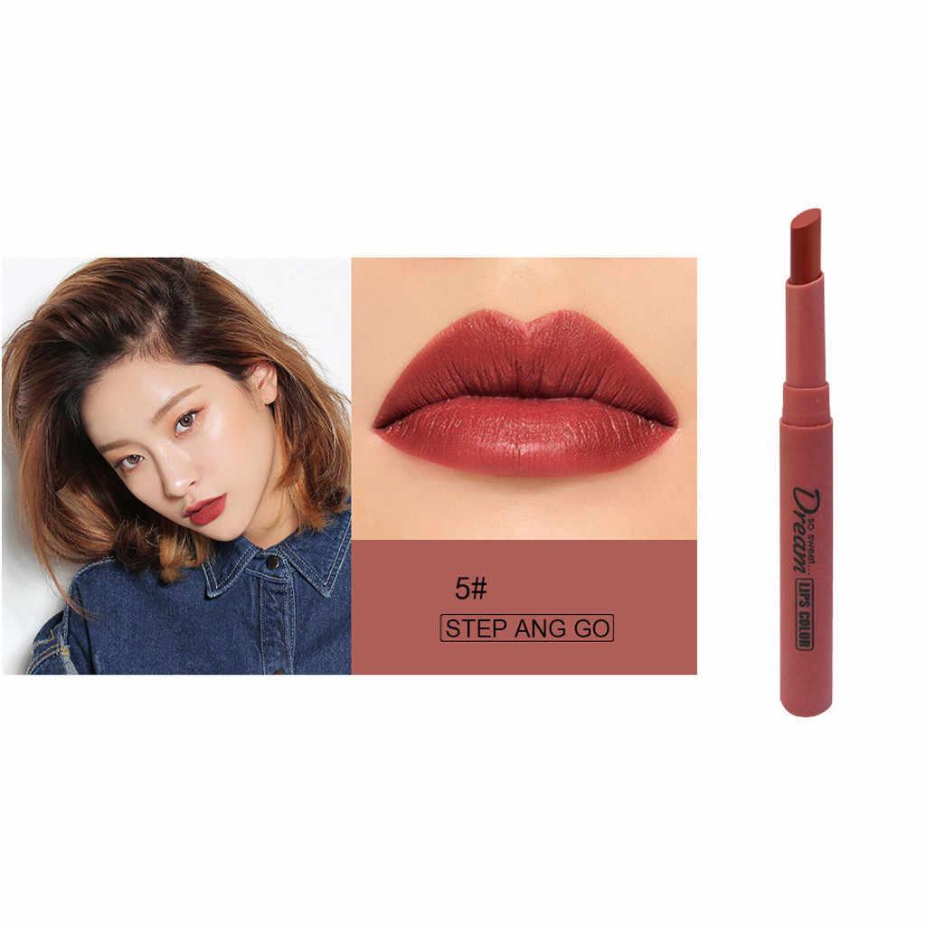 Matowy czerwony tuba usta czerwona cegła czerwona szminka aksamitna wodoodporny, długi trwały Maquillaje makijaż zestaw szminek Maquillaje Mujer usta