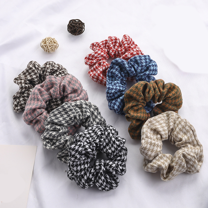 Women Hair Accessories Lattice Hair Scrunchies Women Hairbands Cotton Cloth Fabric Ponytail Holder Gum For Hair Rubber Band