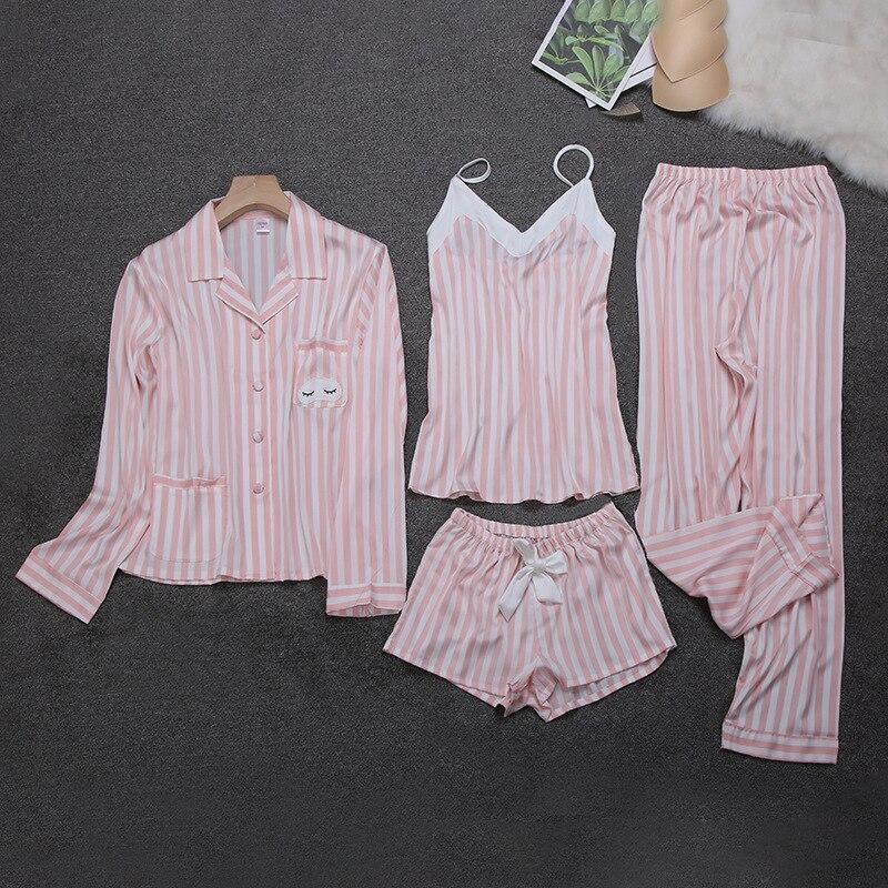 QWEEK 2019 Stripes Long Sleeve Silk Sleepwear Women Four-piece Summer Thin Breathable Cardigan Pajamas Women Comfortable Pyjamas