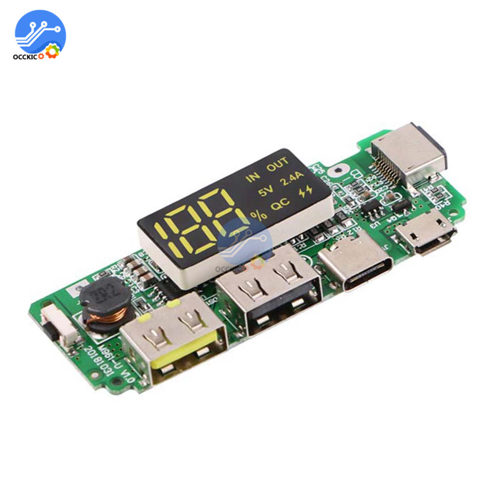 5V 2.4A 2 USB Charging Board for 18650 Battery Power Bank Case Box Type C Fast Charger Adapter Module for Power Bank DIY
