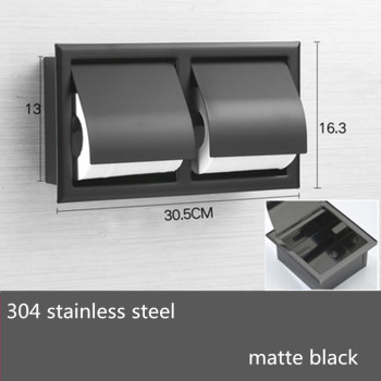 Double Wall Bathroom Roll Paper Box Black Recessed Toilet/Tissue Holder All Metal Contruction 304 Stainless Steel