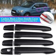 Автомобильный 8 шт. набор ABS углеродное волокно черная Дверная ручка Крышка для Mitsubishi Outlander ASX Lancer 2008-2012 Автомобильная рамка наклейка Стайлинг