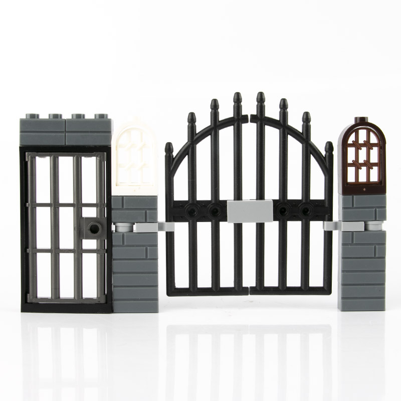 City Accessories Bricks Fence Railing Windows MOC Mini Figure House Door Garden Military Ww2 Part Building Blocks Toy Child C153