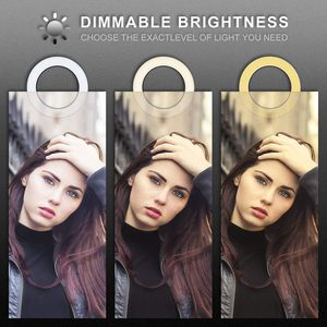 Image 4 - Selfie Makeup Live Vlog Streaming YouTube Fill Ring Light Photography Ringlight Lamp LED Dimmable Tripod Stand Phone Holder
