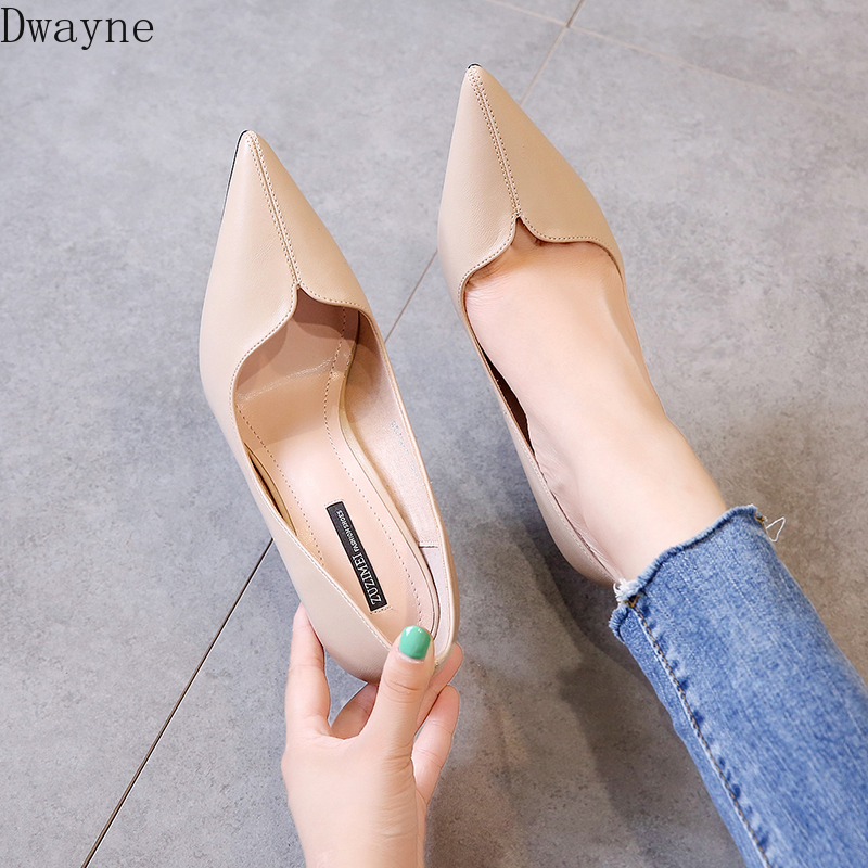 Women's Shoes Fashion Single Shoes Korean Simple Comfort Soft Leather Sexy Thin Heels High Heels Temperament Pumps Work Shoes