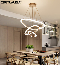 Led ceiling chandelier for dining room living rings white coffee color pendant lamp with remote control kitchen 50% discount