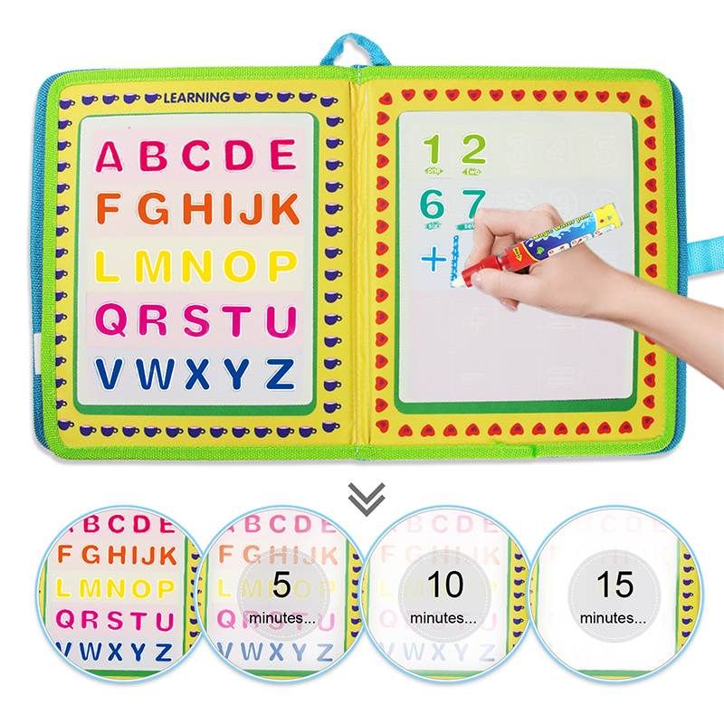 Portable Water Drawing Book & Magic Pen English Letter Number Time Cognitive Travel Doodle Coloring Painting Board Education Toy