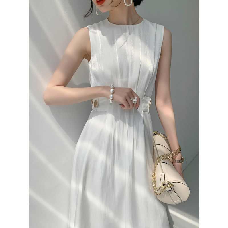 Elegante Mode Koreaanse Jurk Kantoor Dame Vrouwen Zomer Jurk 2020 Mouwloze Hoge Taille Tuniek A-lijn Zonnejurk Vestido Blanco