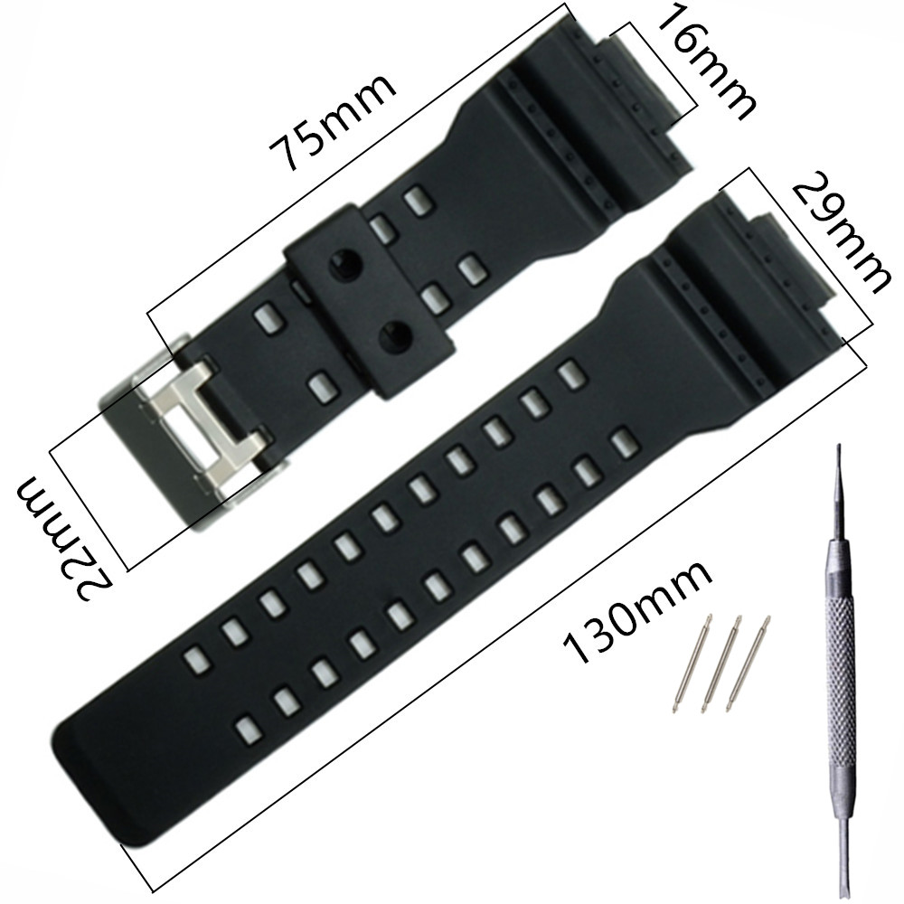16mm Silicone Rubber Watch Band Strap Fit For Casio <font><b>G</b></font> <font><b>Shock</b></font> Replacement Black Waterproof <font><b>Watchbands</b></font> Accessories +Tool image