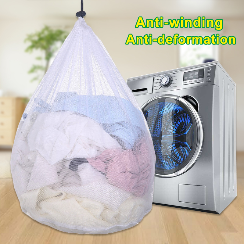 3 Sizes Laundry Bag Washing Machine Thicken Drawstring Net Bag Travel Clothing Care Protection Net Household Cleaning Supplies