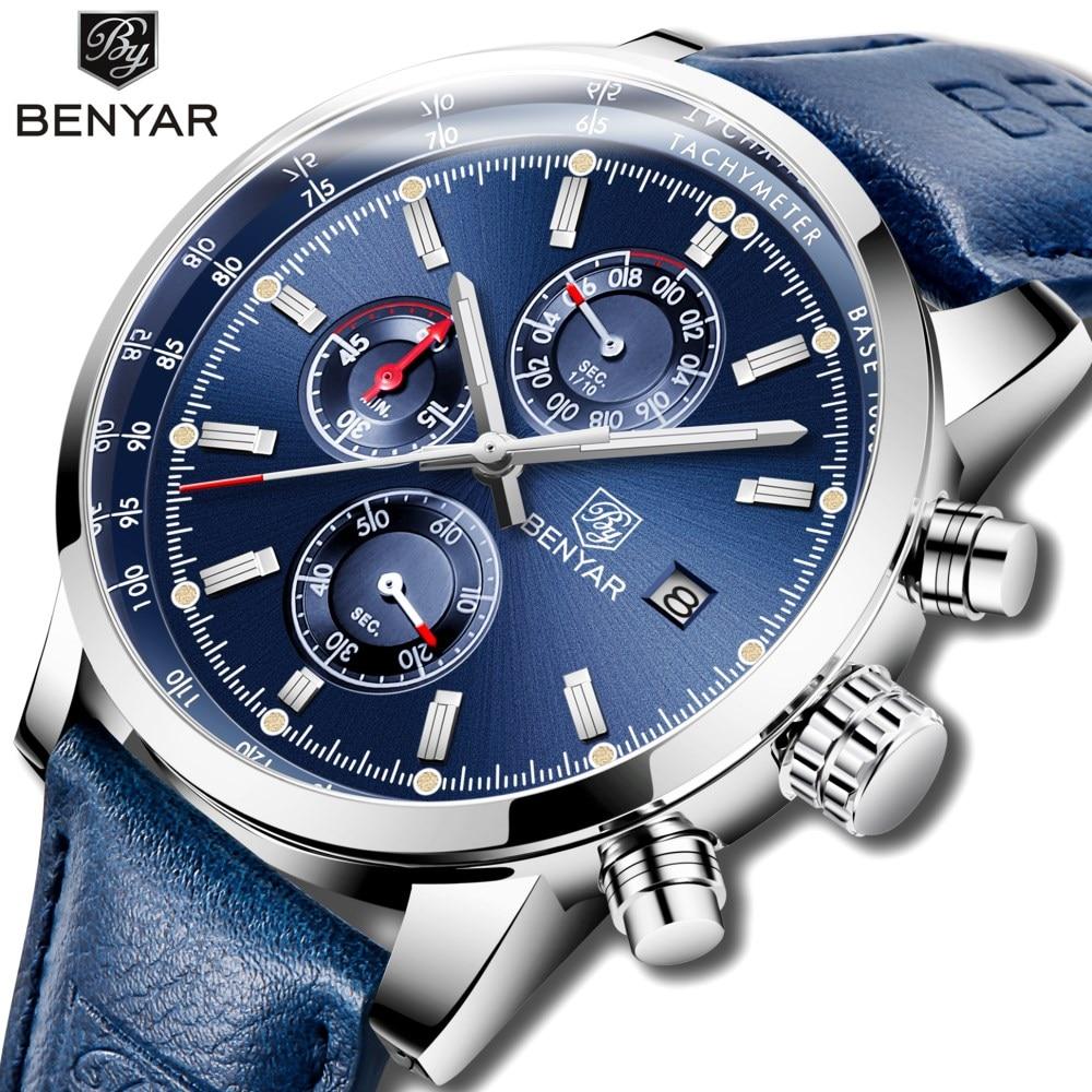 2019 BENYAR Watches Men Luxury Brand Quartz Chronograph Watch Fashion Sport Automatic Date Leather Men's Clock Relogio Masculino