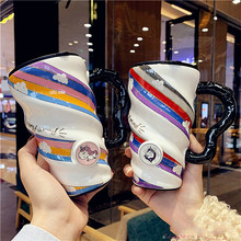 Creative Personality Mug Cute Cartoon Shaped Cup Large Capacity Trend Coffee Cup Household Ceramic Water Cup With Lid And Spoon peacock shape water cup large capacity mug with lid spoon creative personality tea cup ceramic coffee cup latte milk mug