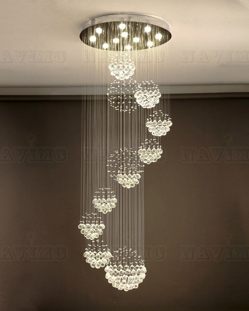 Large Modern Crystal Double Helix Round Elegant Hotel Staircase Chandelier Christmas Decorations for Home Lighting