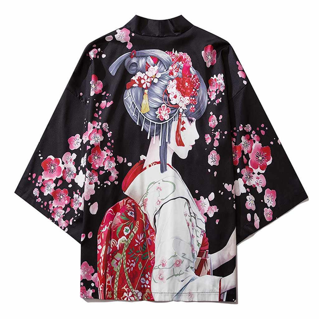 Mannen Vrouwen Kimono Japanse Kleding Kimono Vest Cosplay Heren Etnische Kimono Jurk Yukata Vrouwelijke Zomer Strand Shirt Blouse Mannen