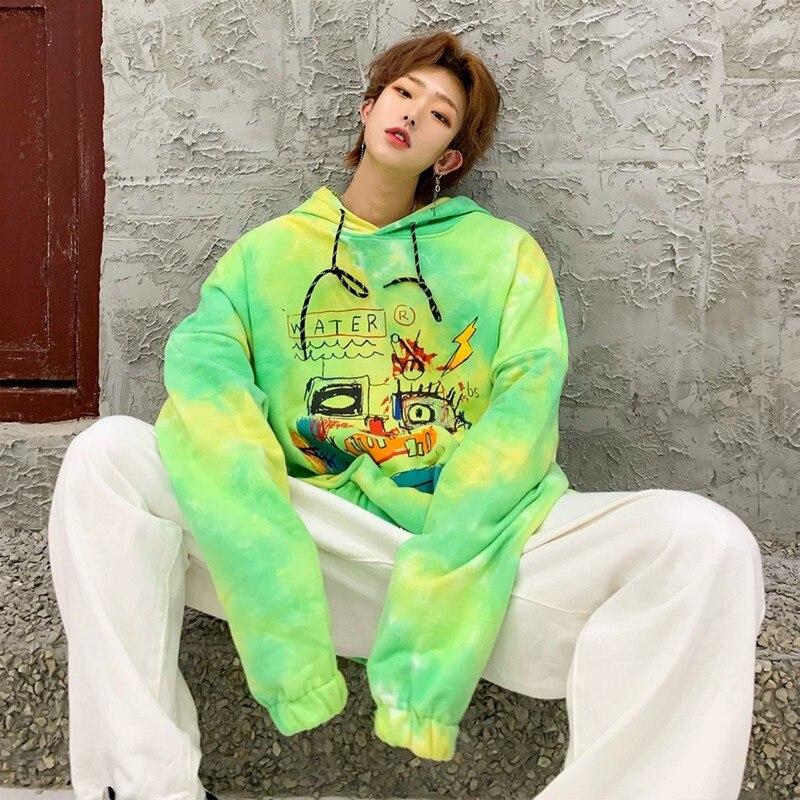 NiceMix harajuku Tie-dye hoodies men women hip-hop causal loose pullover vintage male hooded sweatshirt ropa hombre 2020 new