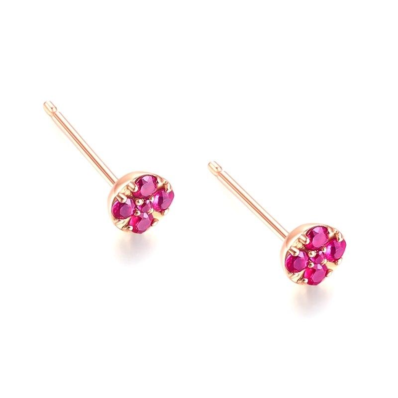 Solide 14k or Rose naturel rubis femmes boucles d'oreilles de fiançailles de mariage bijoux fins - 4