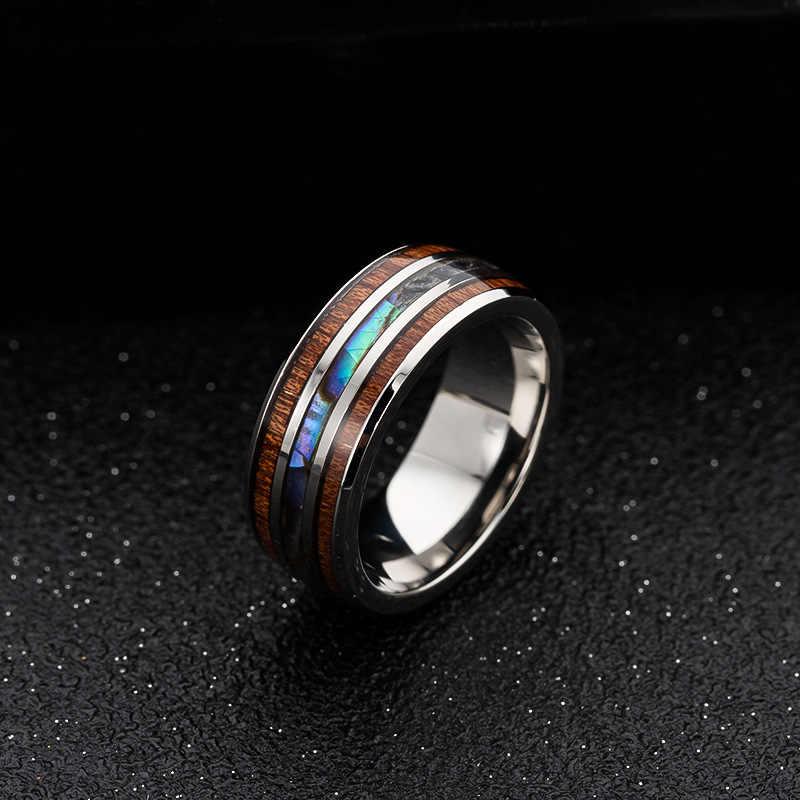 7-40 NUNCAD Herren Damen Partner Ring aus Wolfram Silber 8mm mit Abalone-Muschel und Hawaiischem Koaholz Gr/ö/ße 47 bis 80