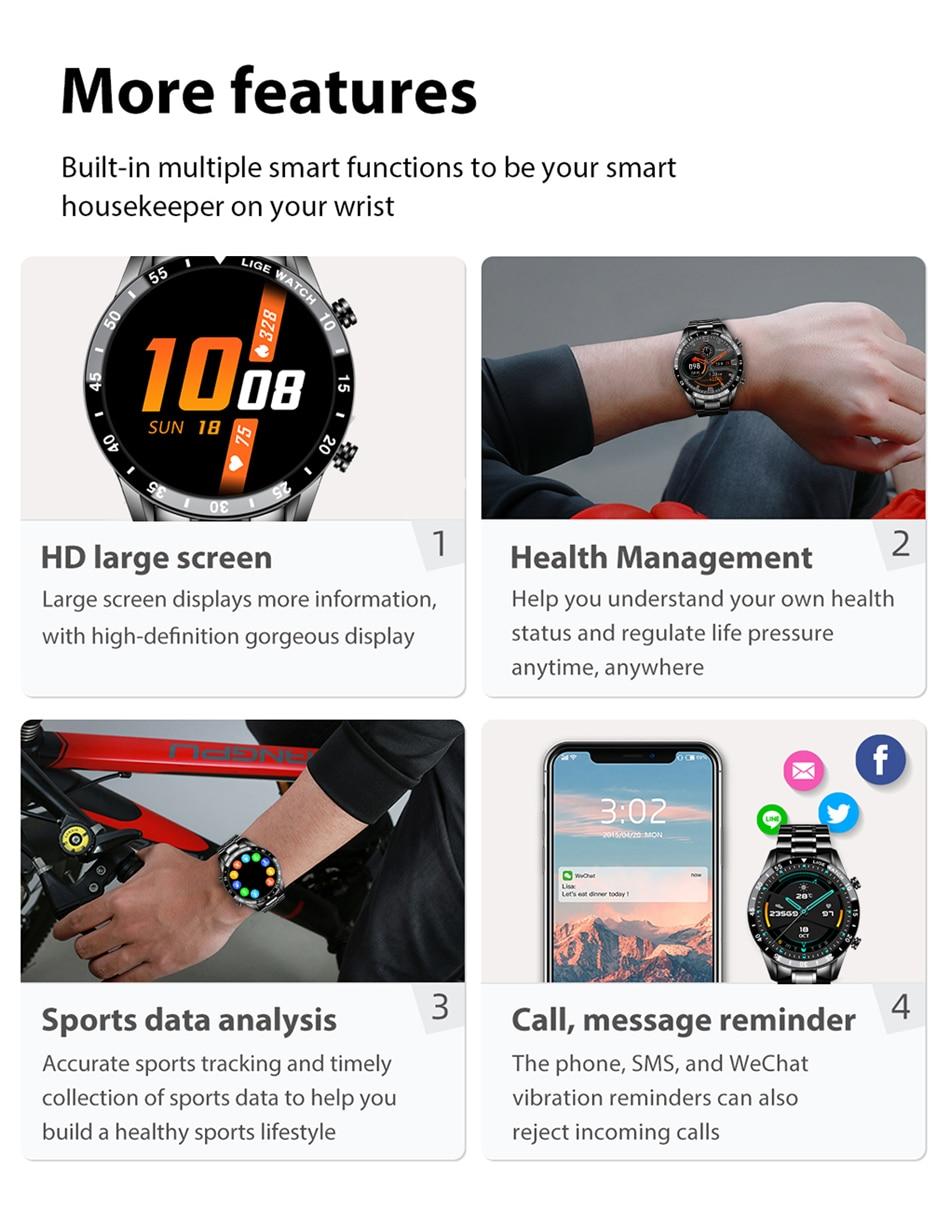 LIGE New Men Smart watch Heart rate Blood pressure IP68 waterproof sports Fitness