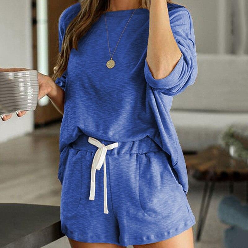 2020 New loungewear women pajama set summer breathable nightgown sleepwear indoor long sleeve sleep tops two pieces pijama mujer (15)