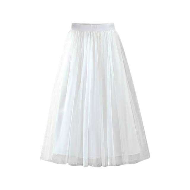 Womens Pleated Tulle Mesh Elastic High Waist Casual A-Line Long Skirts юбка женская  ropa mujer skirts womens юбки женские 4